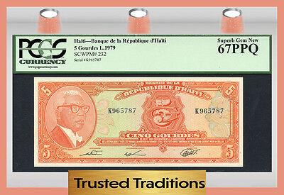 """Tt Pk 232 1979 Haiti 5 Gourdes """"president Dr Duvalier"""" Pcgs 67 Ppq Superb F"""