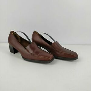WOMENS-M-amp-S-FOOTGLOVE-BROWN-LEATHER-SLIP-ON-COURT-LOAFER-HEELS-SHOES-UK-6-EU-39