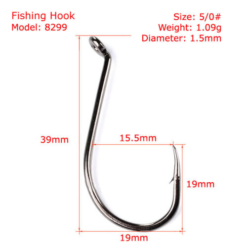 Lots 50pcs High Hardness Carbon Steel Saltwater Barbed Fishing Hooks 1#-10//0#