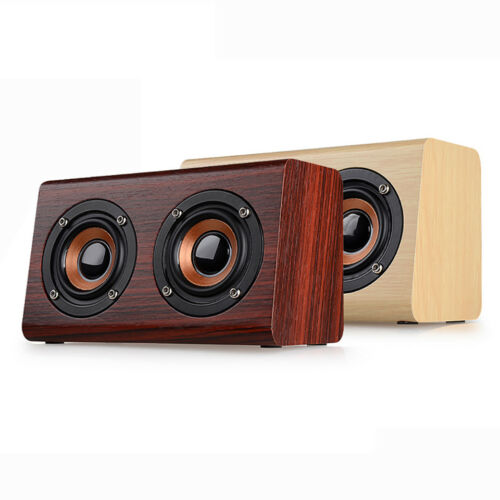 W7 Retro Wooden Wireless Bluetooth Speaker Portable Super Bass Stereo Speakers
