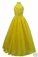 Girl Yellow Pageant Wedding Flower Girl Formal Party Dress Size 7 8 10 12 14