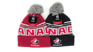 NHL TEAM CANADA MENS CUFFED BRIM WINTER KNIT BEANIE POM POM TOQUE ... 13aa38e152a