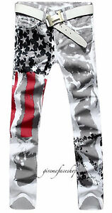 Mens-slim-fit-Stars-amp-Stripes-urban-jeans-full-print-skinny-urban-hip-hop-pants