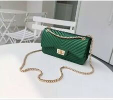 Office Lady Clear Rivet Turnlock Tote Bag Shoulder Jelly Chain Handbag Clutch