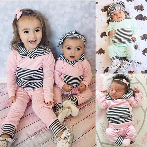 2pcs Newborn Kids Baby Girl Stripe Hoodie Coat Tops+Pink Pants Leggings Outfits