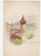 Luzern Mit Wasserturm Switzerland Chromo Litho U/B Postcard 286a