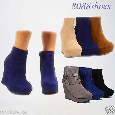 Women's Fashion Cute Round Toe Platform Wedge Zipper Bootie Shoes Size 5- 10 New