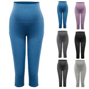 1-Capri-Pants-Women-Maternity-High-Waist-Tummy-Stretchy-Length-Yoga-Exercise