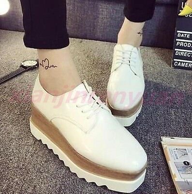 Chic Women Wedge Heels Brogues Creepers pu Patent Leather Platform Lace Up Shoes