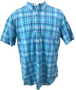 Columbia-mens-shirt-size-L-large-blue-plaid-short-sleeve-cotton-1-pocket