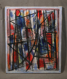 Details About Vintage Modern American Artist Abstract Cubist Composition Quality Painting