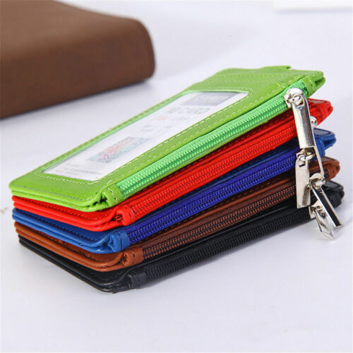 Business PU Leather ID Badge Card Holder Zipper Card Case With Lanyard New