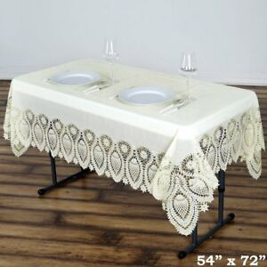 Image Is Loading Ivory Crochet Lace Plastic 54x72 034 Rectangle TABLECLOTHS