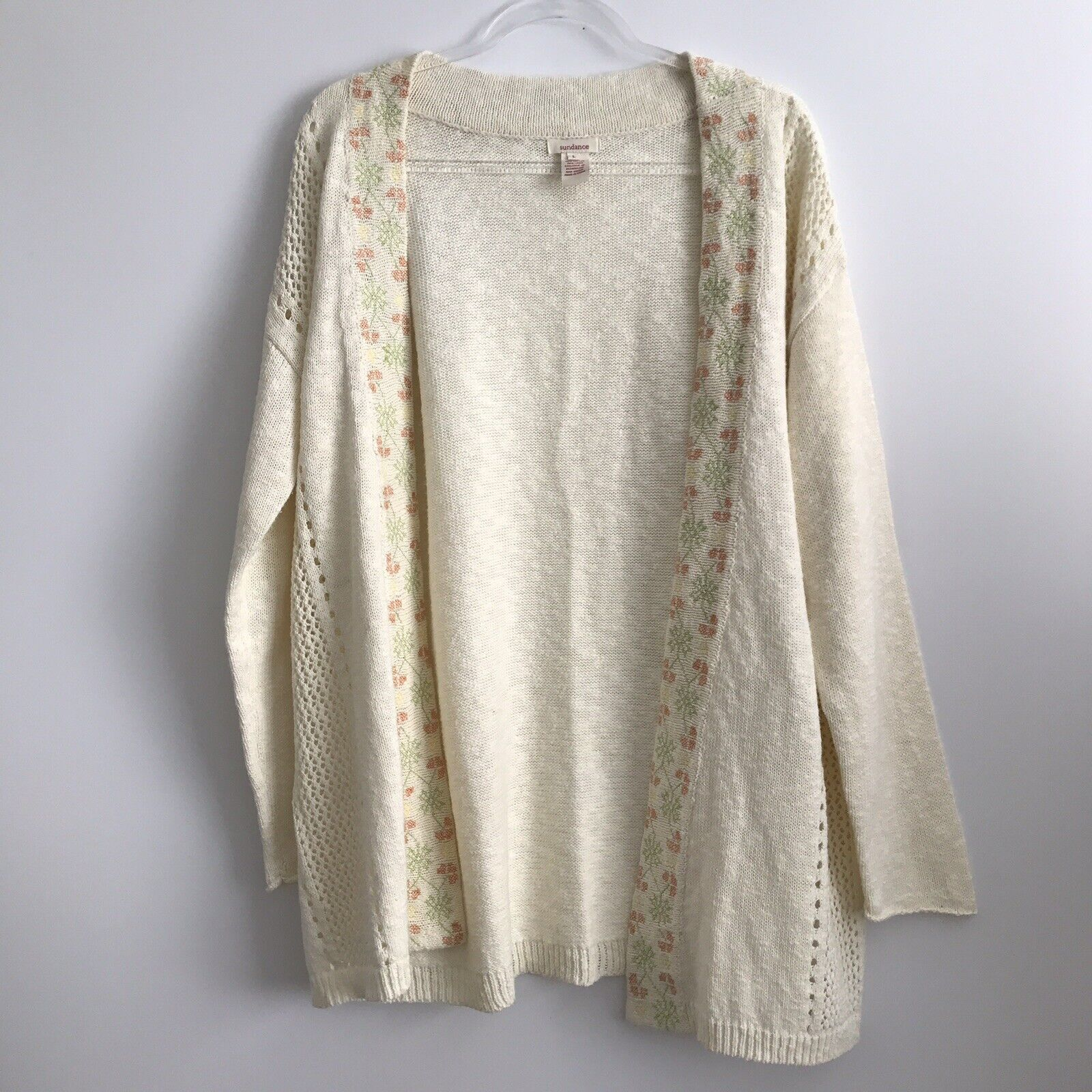 1f1a1938fa86 Women s Ivory Floral Open Cardigan Sweater Cotton Linen Blend - Size ...