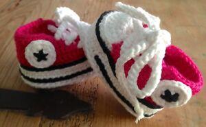 Patucos Bebe Recién Nacido 0/3 Meses Ganchillo Crochet Punto Nuevas Fucsia