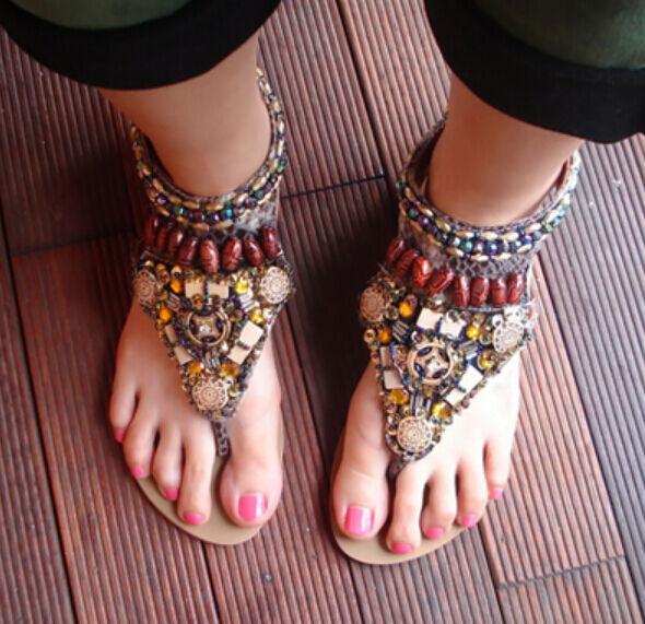 Boho Summer Womens Flat Ethnic Colorful Bead Thong Flip Flops Sandals US4.5-9
