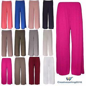 Ladies-Women-Palazzo-Plain-Flared-Wide-Leg-Pants-leggings-Baggy-Trousers-8-26