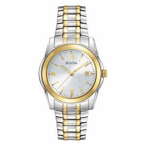 Bulova-Men-039-s-Quartz-Two-Tone-Bracelet-Date-Calendar-40mm-Watch-98H18