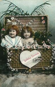 VINTAGE-PHOTO-POSTCARD-BIRTHDAY-GREETING-2-RED-HAIRED-GIRLS-SIGNED-DORTHY-M