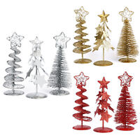 Set of 3 Christmas Tree Winter Holiday Mini Tree Miniature Ornaments Party Decor
