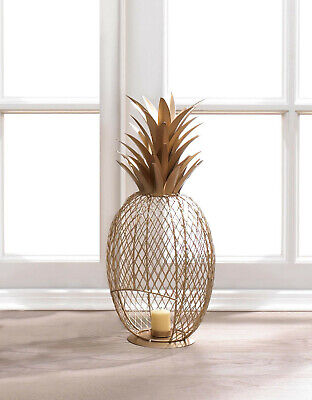 """large 20/"""" tall modern art gold PINEAPPLE tealight candle holder statue tropical"""