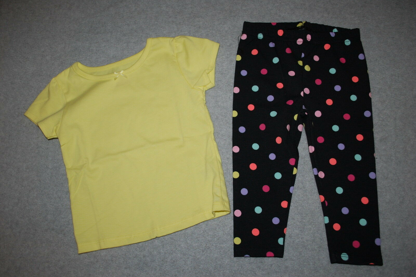 Baby Girls Outfit S S Yellow Tee Shirt Black Leggings Polka Dots Pink Aqua 12 Mo For Sale Online