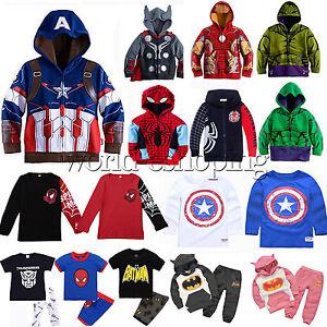 Superhero-Kids-Baby-Boys-Hoodies-Sweatshirt-Coat-T-Shirt-Tops-Sports-Outfit-Set