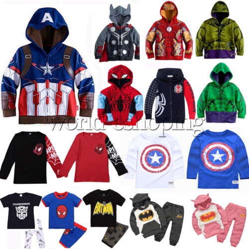 Marvel Superhero Kids Boys Hoodies Sweatshirt Jacket Coat T-Shirt Top Outfit Set