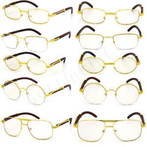 1e4e3193df2 For Men s Gold Metal Wood Effect Frames Eye Glasses Clear Lens