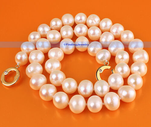 10mm Genuine Natural Freshwater White Pearl NecklaceFJUS