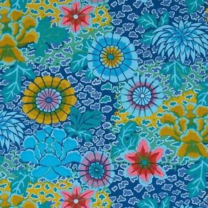 Kaffe-Fassett-Dream-Floral-Cotton-Fabric-PWGP148-Blue-Fall-2014-Collection-BTY