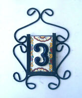 1 Blue Mexican Tiles House Numbers High Relief & Iron Frame