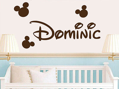 Boys Name Wall Decals Mickey Mouse Vinyl Sticker Baby Boy Name Nursery Art X84