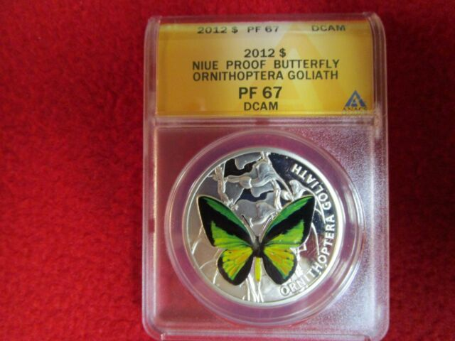 2012 Niue $ Ornithoptera Goliath Butterfly ANACS PCGS NGC PF67 Silver Coin