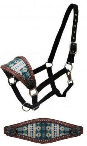 Showman Leather Bronc Halter w// Aztec Print Noseband! NEW HORSE TACK!!