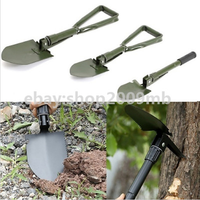 Camping Trowel Spade Army Style Steel Tool NEW FOLDING HAND SHOVEL with CASE