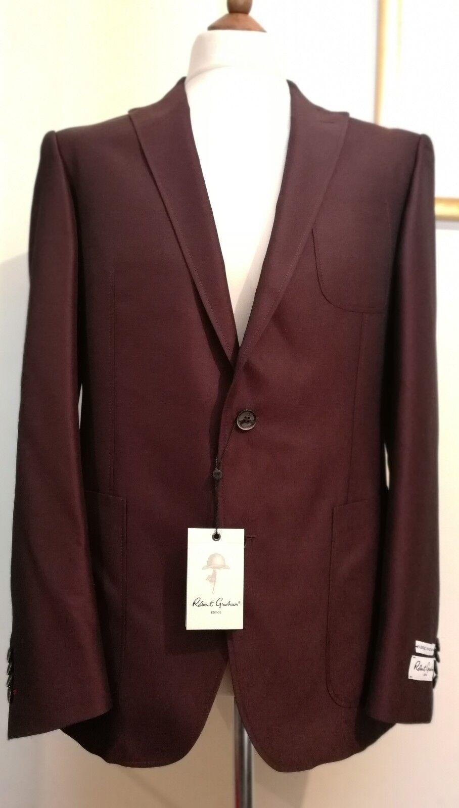 Robert Graham Leighton Two Piece Suit Bordeaux Größe uk 42 eu 52   | Vielfältiges neues Design  | Genial  | Verschiedene Waren