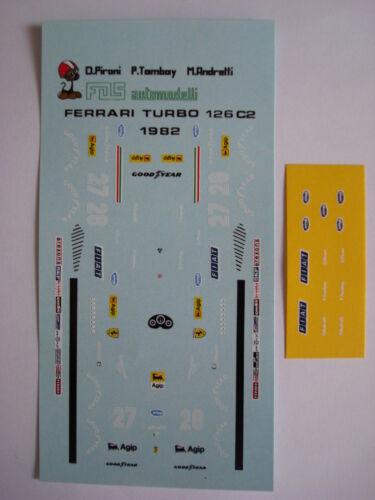 DECAL F1 FERRARI 126 C2 F1 1982 DIDIER PIRONI-PATRICK TAMBAY-MARIO ANDRETTI
