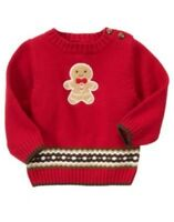 Gymboree Gingerbread Boy Red Cookie L/s Sweater 3 6 12 18 24