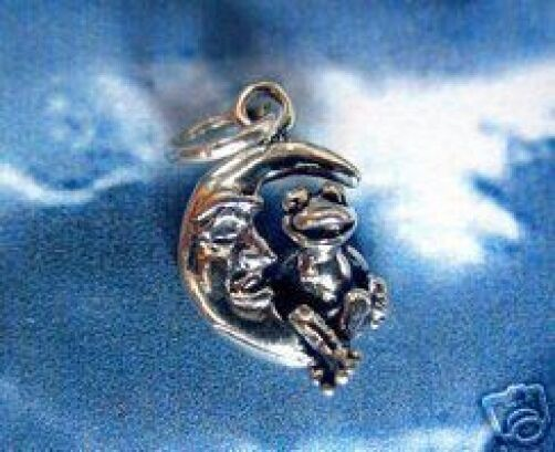 LGU Sterling Silver Oxidized Small One Sided Frog Sitting on Crescent Moon Charm