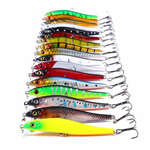 17PCS 8.5cm//6g Trolling Bait Minnow Fishing Lure Bass Crankbait Tackle Wobbler