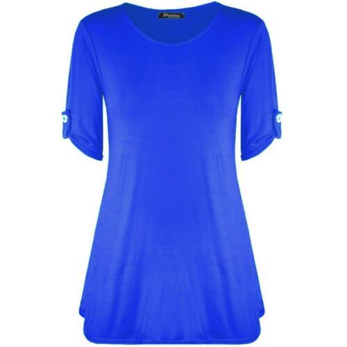 ZOONAG Women Ladies turn up Short Sleeve Button Swing Top