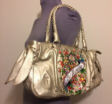 Ed Hardy Flowers Purse Shoulder Bag Gold Cherry Blossoms Twisted Handle Side Tie