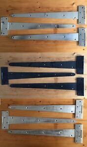 """3x HEAVY DUTY TEE HINGES 18/"""" 450mm RING LATCH!DOOR GATE HINGE SET GALVANISED!"""