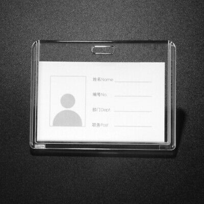 ID Badge Holder Transparent Acrylic Business Office School Card Case Protector