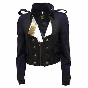 differently e4644 b0deb Details about 9366Q giubbotto donna CYCLE giacca blu grigio scuro lana  jacket women wool