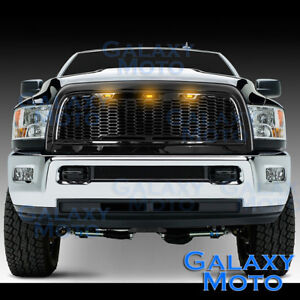 10-17-RAM-2500-3500-Raptor-Gloss-Black-Replacement-Mesh-Grille-Shell-Amber-3xLED