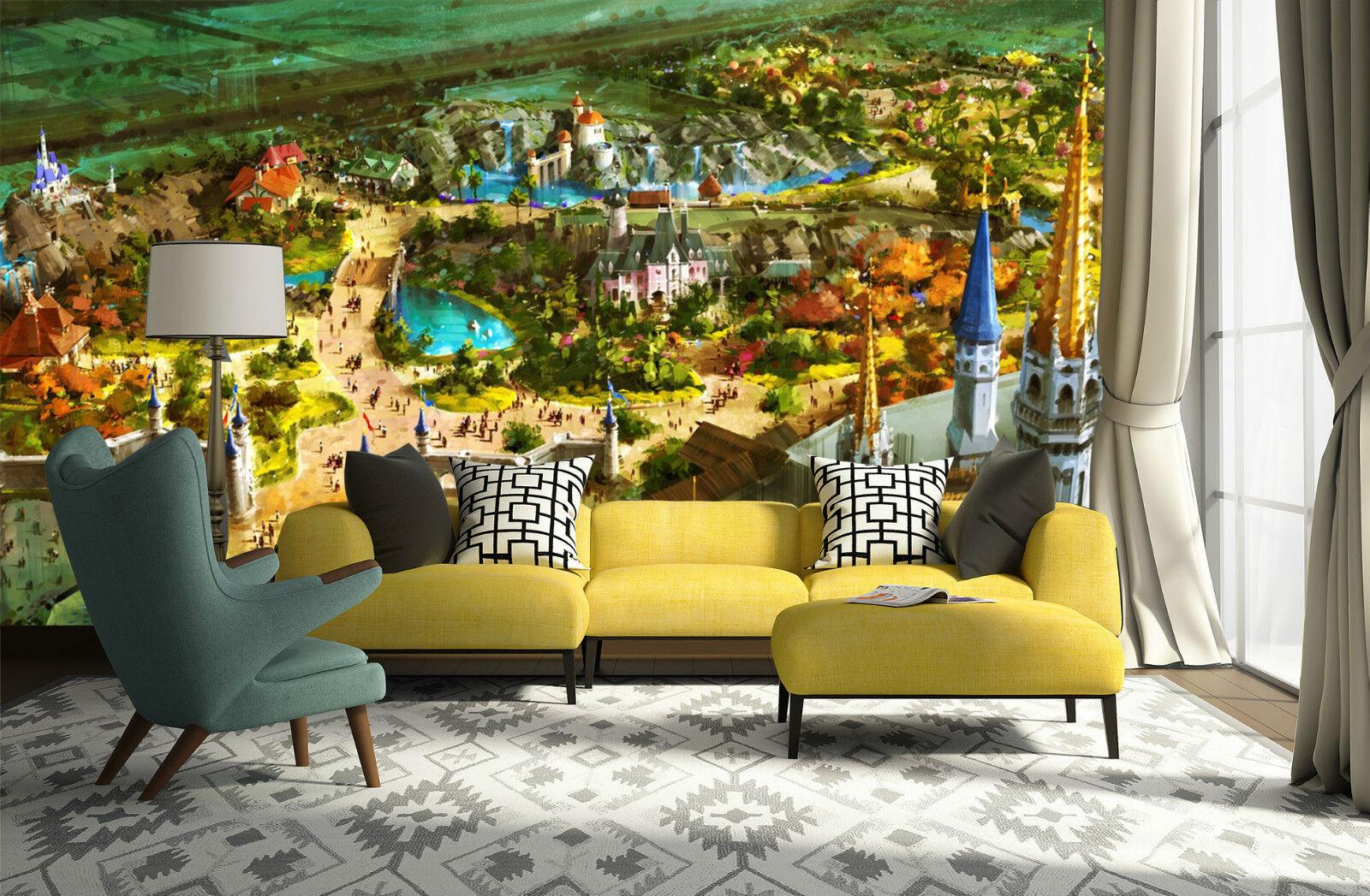 3D Jardin Ville 05 Photo Papier Peint en Autocollant Murale Plafond Chambre Art