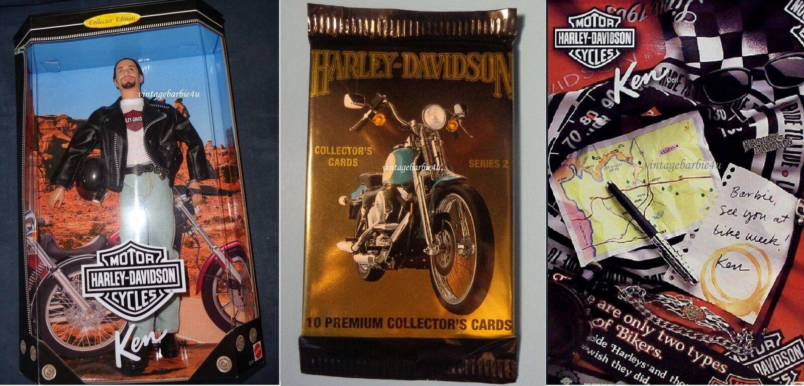 Harley Davidson Ken Muñeca Barbie & Tarjetas de coleccionista HD Serie Mattel Nuevo Como Nuevo