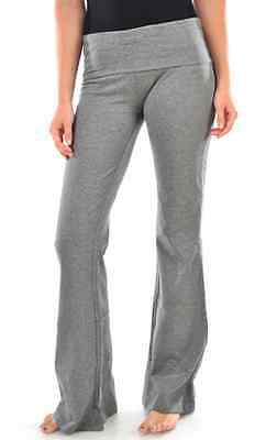 Women's GREY Yoga Pant Medium Comfy Cotton Gym Sports Athletic Special